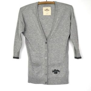 Hollister Grey Button-Up Cardigan